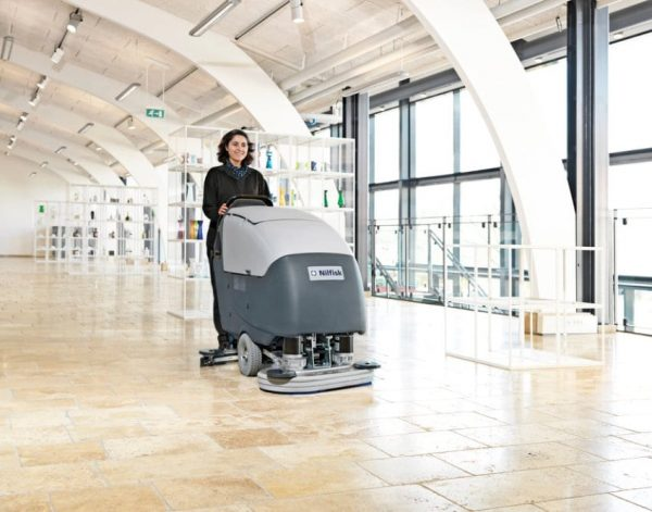 Nilfisk BA651 BA751 floor scrubber drier for large retail floor cleaning