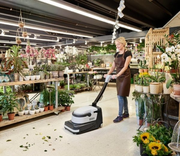 Nilfisk SC250 scrubber dryer in a florist