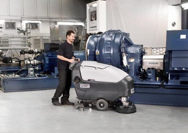 Nilfisk SC800 scrubber drier for use in engineering workshops.