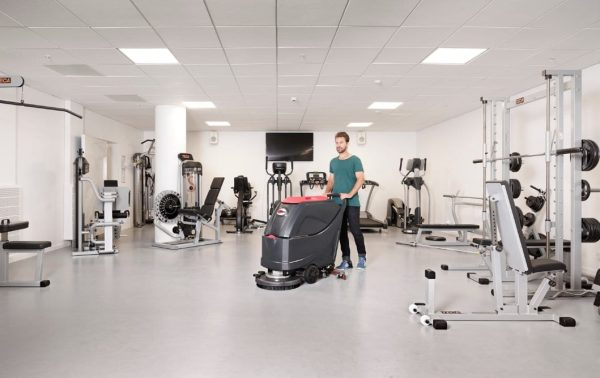Viper AS5160 scrubber drier cleaning a sports gym