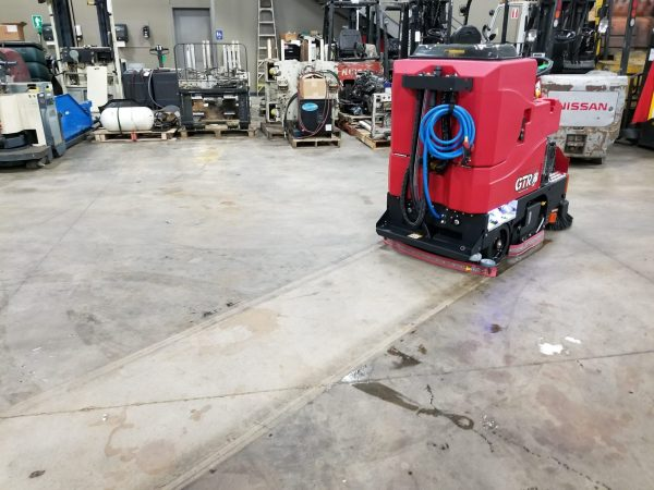 Factory Cat GTR ride on scrubber driers for heavy industrial floor cleaning