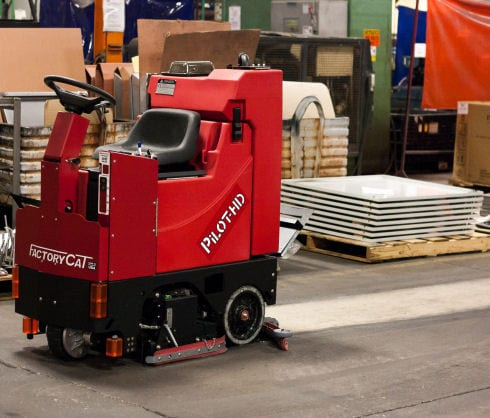 The Factory Cat PILOT-HD compact industrial ride on scrubber drier