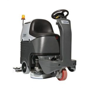 Nilfisk BR652 / BR752 ride on scrubber drier with sliding brush deck for improved cleaning performance