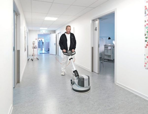 Nilfisk FM400H high speed buffer polisher for floors in hospitals, dentists, shops and more.