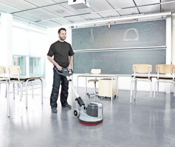 Nilfisk FM400 floor buffer for school floor cleaning