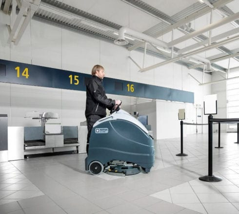 Nilfisk SC1500 floor scrubber drier for airport cleaning