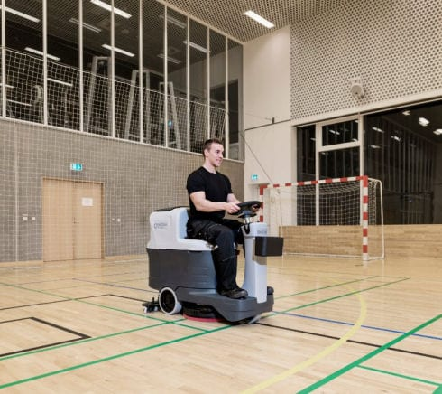 Nilfisk SC 2000 ride on scrubber drier for schools, colleges and leisure centres.