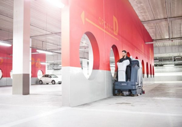 Nilfisk SC6000 disc scrubber drier for car park cleaning