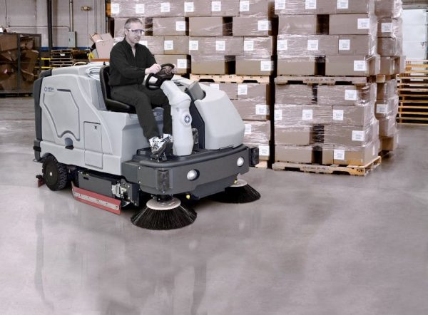 The Nifisk SC8000 extra large ride on floor scrubber drier with optional side brooms