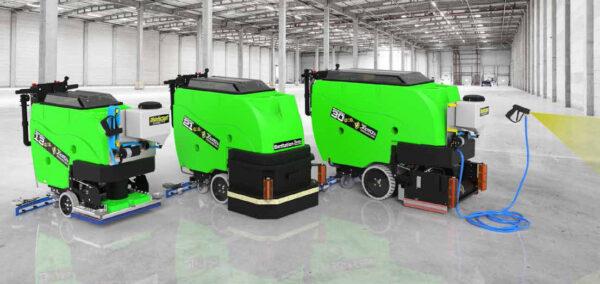 Tomcat sanitiser pedestrian scrubber dryer range